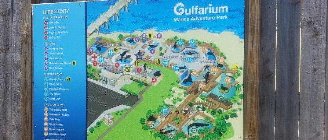 Gulfarium ticket prices, hours of operation, and park information.